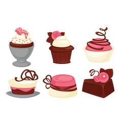 cakes and cupcakes pastry sweet desserts vector image