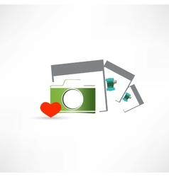 camera heart and photo cards vector image vector image
