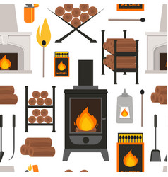 cartoon fireplace background pattern on a white vector image vector image