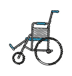 Color crayon stripe cartoon wheel chair medical vector
