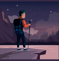 Colorful night landscape of climber man at the top vector