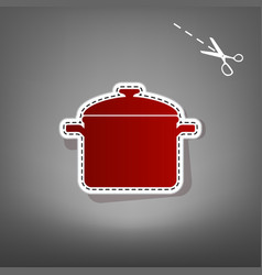 Cooking pan sign red icon with for vector
