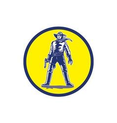 Cowboy Standing With Pistol Cartoon vector image vector image