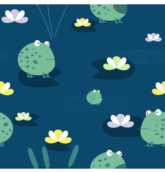 Cute frog seamless pattern vector image vector image