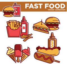Fast food burgers sandwiches snacks and meals vector