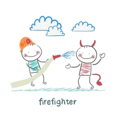 firefighter extinguishes hell vector image vector image