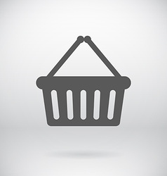 Flat cart bucket sign shopping bin symbol vector