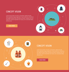 flat icons fire ship lifesaver and other vector image vector image