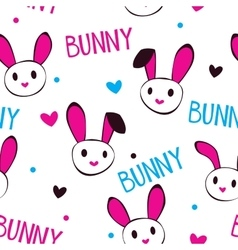 Funny girlish texture with bunny faces vector image