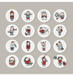 Funny people collection for your design vector
