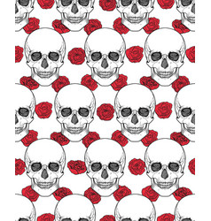 Human skull tribal style seamless pattern vector