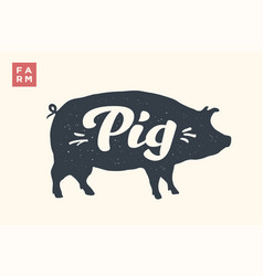 Isolated pig silhouette with lettering vector