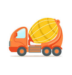 orange concrete mixing truck construction vector image vector image