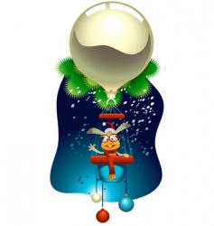 rabbit flying a magic balloon vector image vector image