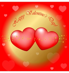 red and gold Happy Valentines Day background vector image