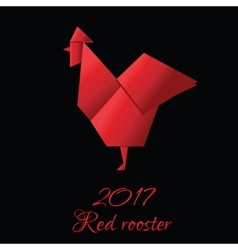 Red Rooster in Origami Style icon 2017 new vector image
