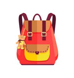 Rucksack for girl with cute teddy bear big pocket vector