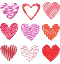 scribbled hearts vector image vector image