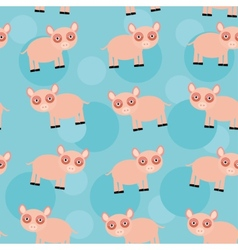 Seamless pattern with funny cute animal pig on a vector