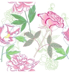 Seamless pattern with pink peonies and rose vector