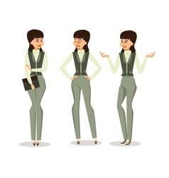 Set successful business woman in different poses vector image