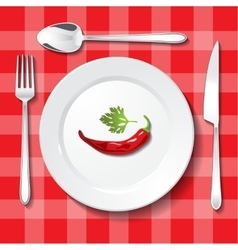 Table appointments on red tablecloth vector