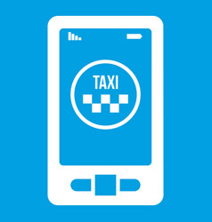 Taxi app in phone icon white vector