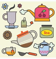 Teatime elements flat vector