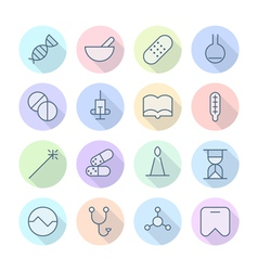 Thin Line Icons For Medical vector image