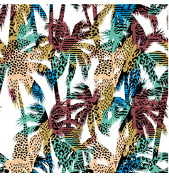 trendy seamless exotic pattern with palm and vector image