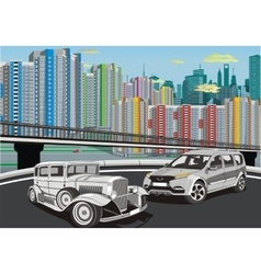 Urban landscape - cars on the background of the vector image