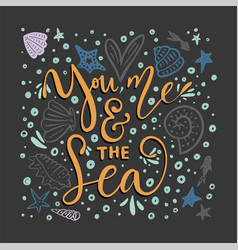 you me the sea card vector image vector image