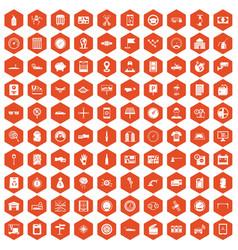 100 auto repair icons hexagon orange vector
