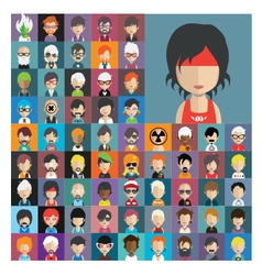 Set of people icons in flat style with faces 15 a vector