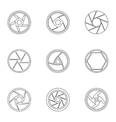 Aperture icons set outline style vector