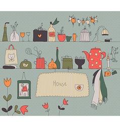Kitchen shelf vintage background vector