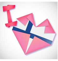 Origami paper i love finland heart card vector