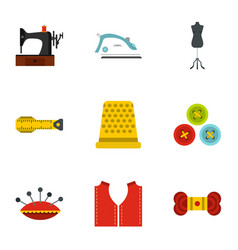 Needlework icons set flat style vector