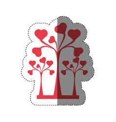 trees heart decorative shadow vector image