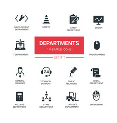Office departments - line design icons and vector