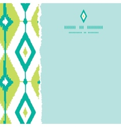 Emerald green ikat diamonds square torn seamless vector