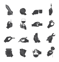 Hand holding objects black set vector image