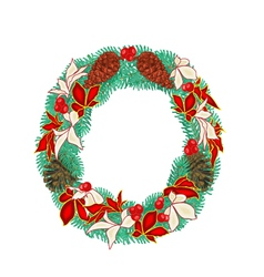 Christmas decoration wreath with pine cones vector