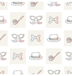 Hipster seamless pattern with ties and glasses vector