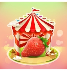 Fruit jam poster strawberry vector