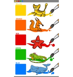 Main colors with cartoon animals vector