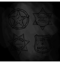 Sheriff and marshal badges vector