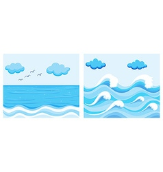 Ocean scene with waves vector