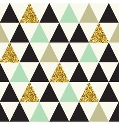 Seamless pattern with gold glitter triangles vector