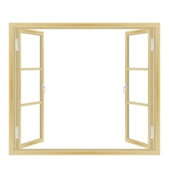 Open wooden window vector
